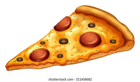 Slice of pepperoni pizza illustration