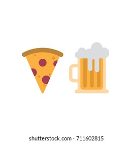 Slice of Pizza and beer mug icons. Flat design.