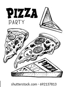 Slice of pizza with box. Hand drawn illustration converted to vector