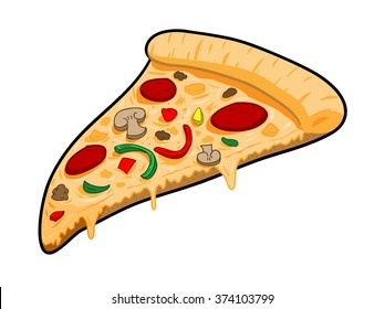 A Slice of Pizza, a hand drawn vector illustration of a slice of pizza.