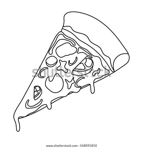 Slice of pizza icon in outline style isolated on white background. Pizza and pizzeria symbol stock vector illustration.