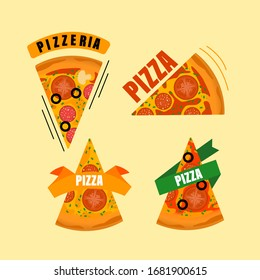 Slice Pizza Isolated, Pepperoni, Cheese, Basil, Tomato, Red Bell Pepper, Hand Drawn Vector  Illustration.