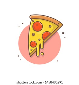 Slice of Pizza Melted Cheese and Meat Vector Illustration. Fast Food Logo. Cafe and Restaurant Menu. Flat Cartoon Style Suitable for Web Landing Page,  Banner, Flyer, Sticker, Card, Background