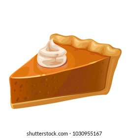 Slice of Pumpkin Pie vector illustration isolated on white