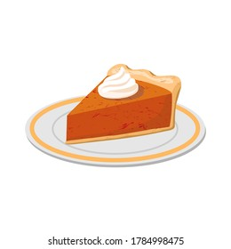 A slice of pumpkin pie and whipped cream isolated. Vector illustration in a flat style on a white background.