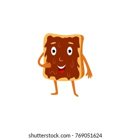 Slice of toast bread character with chocolate spread, cartoon vector illustration isolated on white background. Funny toast character with smiling human face and chocolate spread, breakfast food