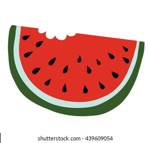 Slice of watermelon with bite taken off