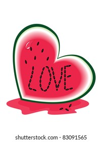 Slice of Watermelon as a heart with love
