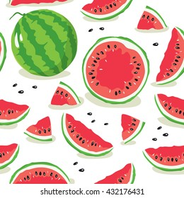Slice of watermelon. Seamless pattern with watermelon slices
