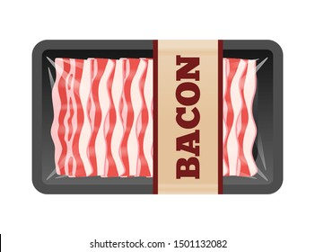 sliced bacon package in transparent foam tray isolated on white background