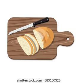 Sliced Bread on Slicing board with knife. Vector illustration.