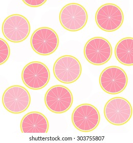 sliced citrus fruit summertime messy seamless pattern with pink grapefruit slices on white background