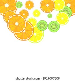 Sliced citruses lemon orange kiwi fruits seamless vector pattern. Vitamins. Colorful vector background.