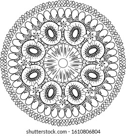 Sliced exotic fruit plate mandala. Summer fruits coloring mandala. decorated with pomegranates and chia seeds