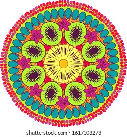 Sliced exotic fruits plate mandala. Summer fruits colorful mandala. decorated with pomegranates and chia seeds