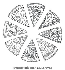 Sliced hot pizza hand drawing in doodle style isolated on white background. Doodle drawing cut pizza in pizzeria top view. Italian cuisine and food concept