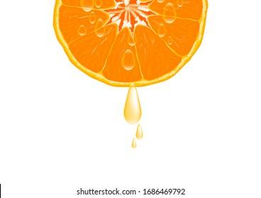 Sliced orange fruit with drops of juice vector illustration