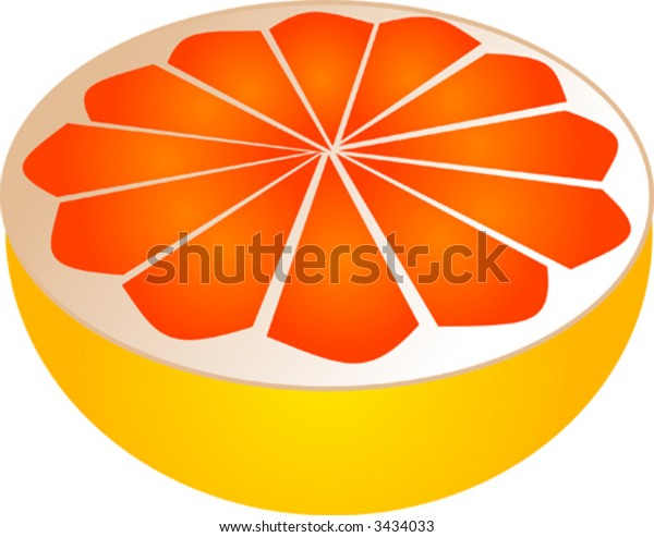 Sliced pink grapefruit illustration, 3d isometric style