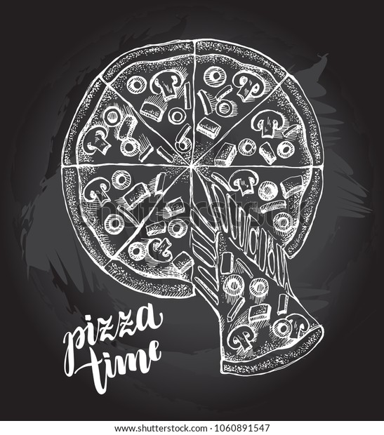 Sliced pizza with melted cheese. Italian cuisine. Ink hand drawn Vector illustration. Top view. Food element for menu design.