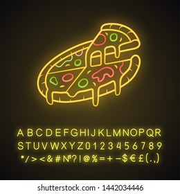 Sliced pizza neon light icon. Pizzeria, pizza house, restaurant, cafe menu. Italian food. Fast food delivery. Glowing sign with alphabet, numbers and symbols. Vector isolated illustration