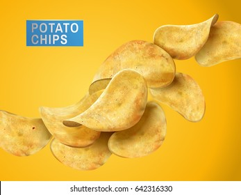sliced potato chips still life, yellow background 3d illustration