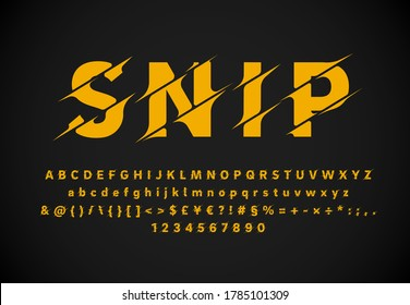 Sliced 'SNIP' fontset high quality type collection, vector illustration