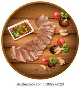 Sliced steak dinner illustraiton on board