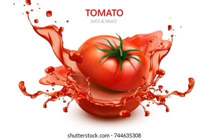 Sliced tomato with splashing juice, in 3d illustration isolated on white background