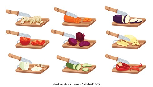 Sliced vegetables and knife set with tomato pepper and onion flat isolated vector illustration