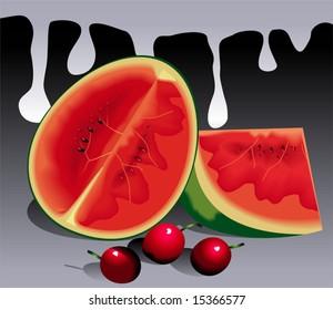 sliced water lemon and berries