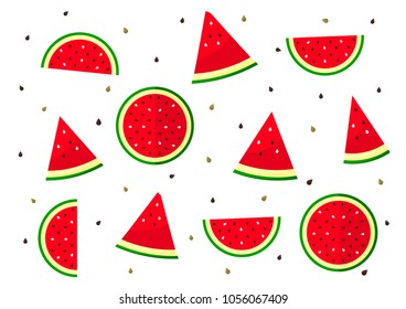 Sliced watermelon pattern on background. Flat lay, top view. Vector illustration