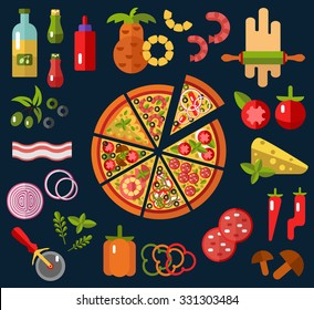 Slices of pizza Margherita, Pepperoni, Cheese, Marinara, Seafood, Hawaiian, Mexican, Mushroom. Ingredients - tomato, olive, onion, pepper, mushroom in flat design.Top view vector.