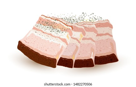 Slices of salo, bacon, lard, silverside, gammon, ham sprinkled with black pepper. Pieces, strips of salty high-fat meat cooked with spices. Ukrainian, Russian cuisine. Vector cartoon illustration.