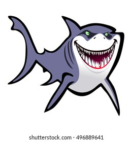 Slick Cartoon Shark over white background in Vector format