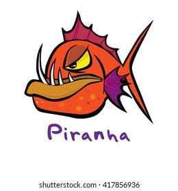 Slick cool cartoon style piranha icon vector format  illustration on white isolated background