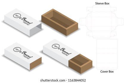 slide box die cut mock up template vector