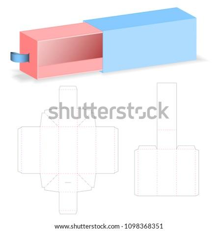 slide box packaging die cut template stock vector royalty free