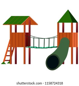 slide on the Playground, attraction, vector illustration