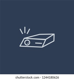 slide projector icon. Trendy flat vector line slide projector icon on dark blue background from Cinema collection.
