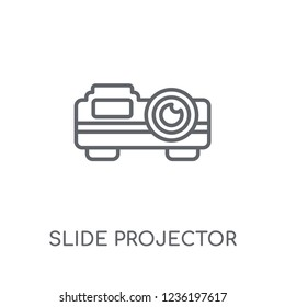 slide projector linear icon. Modern outline slide projector logo concept on white background from Cinema collection. Suitable for use on web apps, mobile apps and print media.