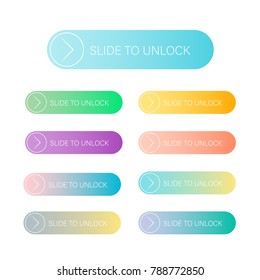 Slide to unlock in flat and gradient color.