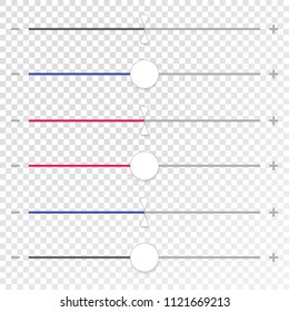 Slider, adjuster interface elements. Horizontal faders for UI designs, horizontal potentiometers for screens touchscreen. Material design color. Vector eps10