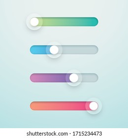 Slider Bar Infographic Colorful Vector Elements Set