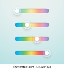 Slider Bar Infographic Multicolor Vector Elements Set