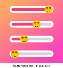 Slider indicator love for social media. Vector heart smile, gauge social web network illustration
