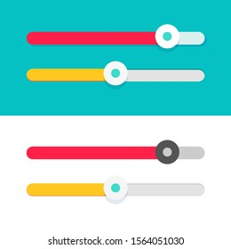 Slider ui element design vector set, flat cartoon modern sliders for web sites isolated on color and white background