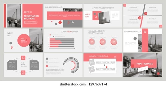 Slides. Modern presentation template. Abstract infographic elements. Title sheet. Brochure cover design. Illustration with image. Business. Light. Simple. Corporate info banner frame. Pink. Gray.