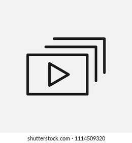 slideshow line vector icon.presentation,slide,show sign.media,multimedia,video, audio,movie,film,projector,projection symbol for web and mobile app on grey background