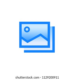 Slideshow vector pictogram. Blue line icon with gradient fill of set Simple Line Filled