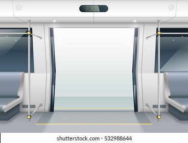 Sliding doors of modern subway car with seating for passengers. Vector graphics